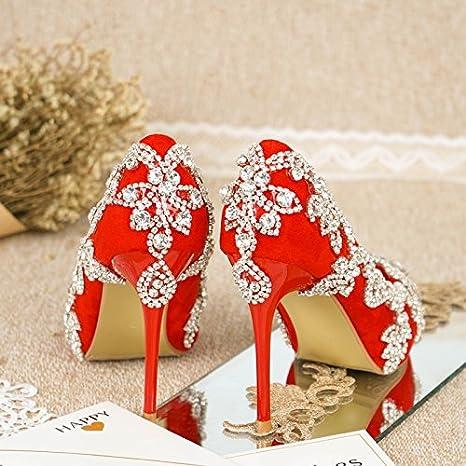 Sandals Red Wedding Shoes Female Vivioo Single Crystal Prom Bride fxaq1nB5Tw