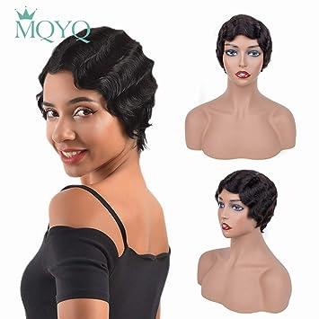 MQYQ Short Curly Black Cute 100% human hair