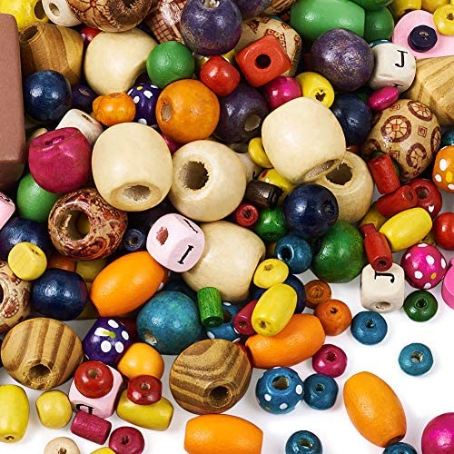 Pandahall 500g 4-45mm Mixed Style Spray Painted Opaque Wood Beads 0.5-5mm Colorful Large Hole Loose Dyed Wooden Spacer Beads