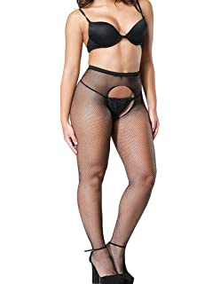 Wislotife Womens Crotchless Fishnet Pantyhose Sexy Mesh Stocking
