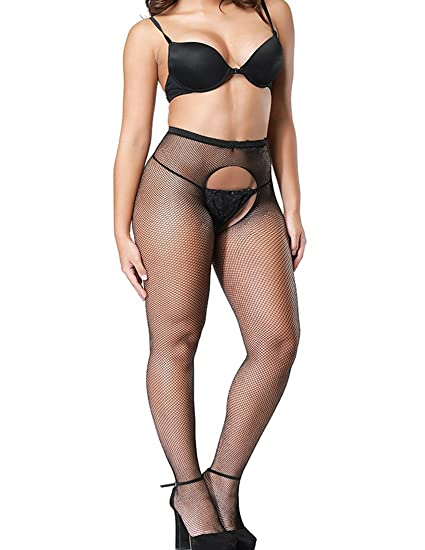 Wislotife Womens Crotchless Fishnet Pantyhose Sexy Mesh Stockings Cross Hollow Out Tightsh02large