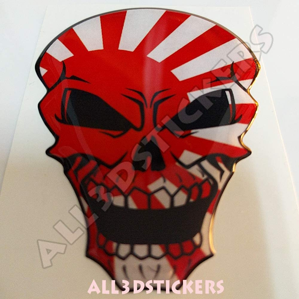 Pegatina Sol Naciente Japon Kamikaze Calavera Bandera Sol Naciente Japon Kamikaze Resina Relieve 3D Adhesivo Vinilo Skull