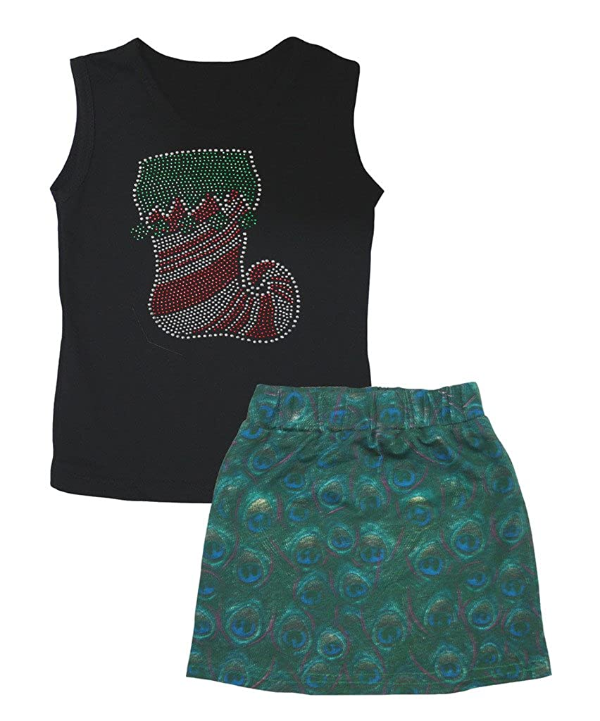 Petitebella Xmas Bling Sock Black Cotton Shirt Peacock Green Skirt Set 1-8y