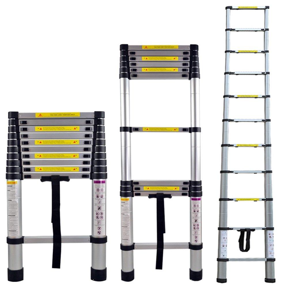 HENGMEI 3.8m Plegable Escalera telesc/ópica de Aluminio Escalera Extensible Plegable Multiprop/ósito Port/átil