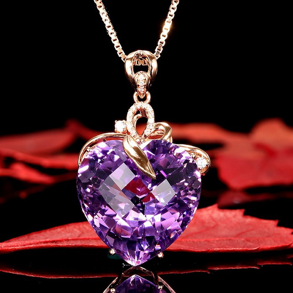 Souarts Femme Bijoux Collier Cha/îne Pendentif Strass Violet C/œur damour Cadeau D/élicat pour Aniniversaire