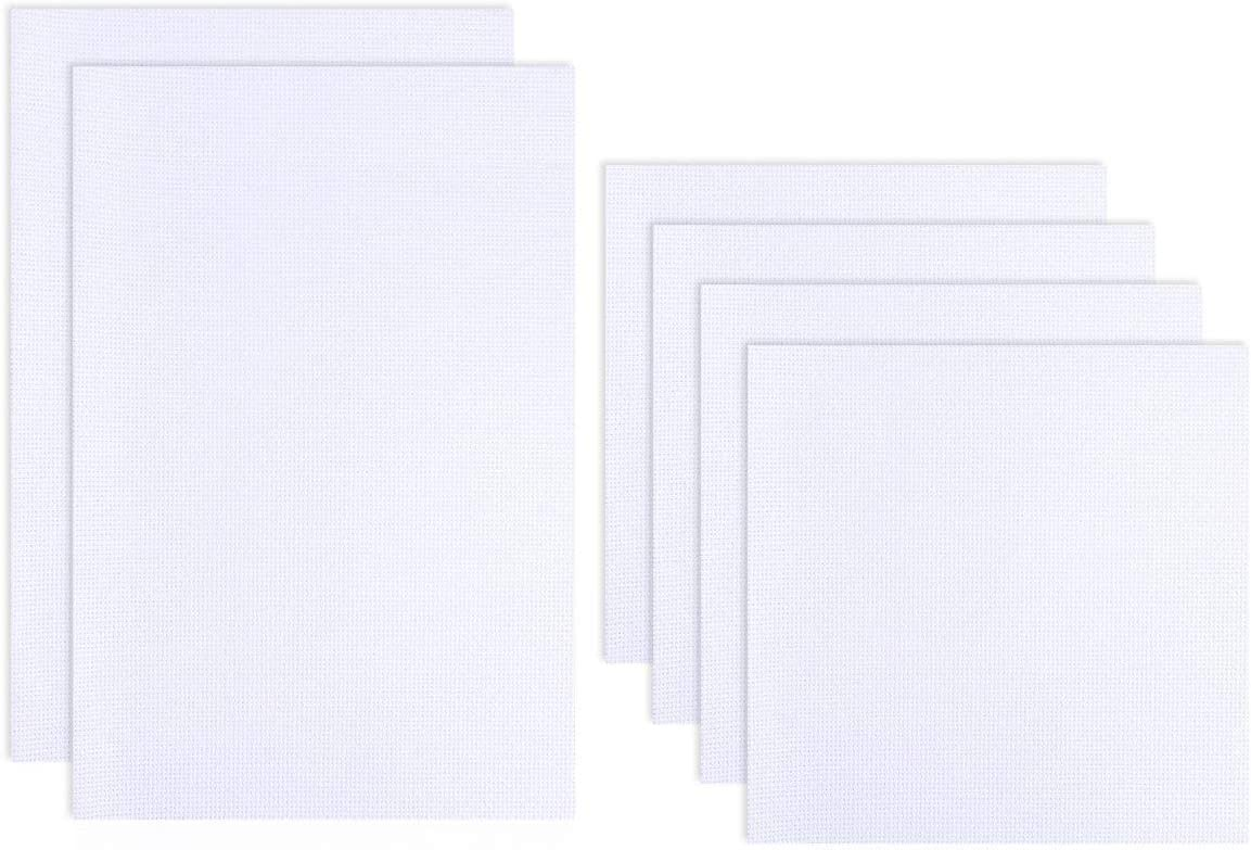 DaKuan 11 Count Cross Stitch Fabric 12 by 18-Inch White 6 Pieces Classic Reserve Aida Cloth Cross Stitch Cloth