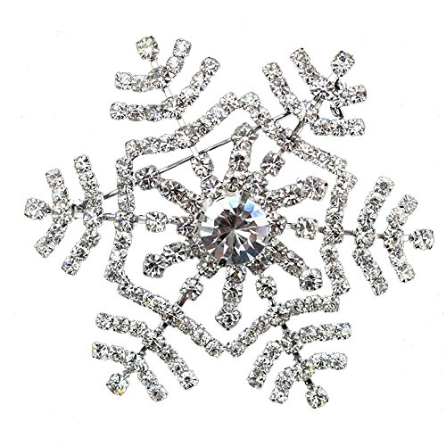 Ainow Mens Lapel Crystal Stick Brooch Pin for Suit Tuxedo Corsage (Snowflake Silver)