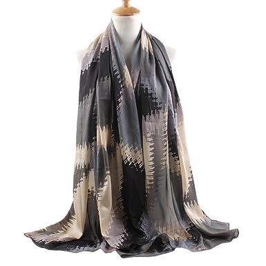 1ff71a7d9568 FEOYA Echarpe de Châle Pashmina Foulard Femme Fille élégance Imprimé  Losange Mousseline de Soie Longue