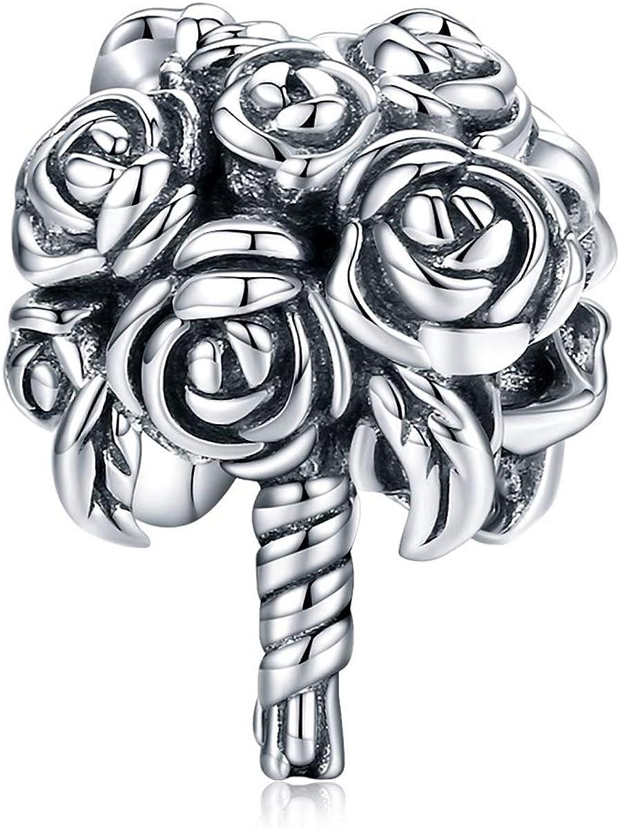 BAMOER Wedding Charm Bracelets for Women Sterling Silver Charms for Pandora  Bracelets