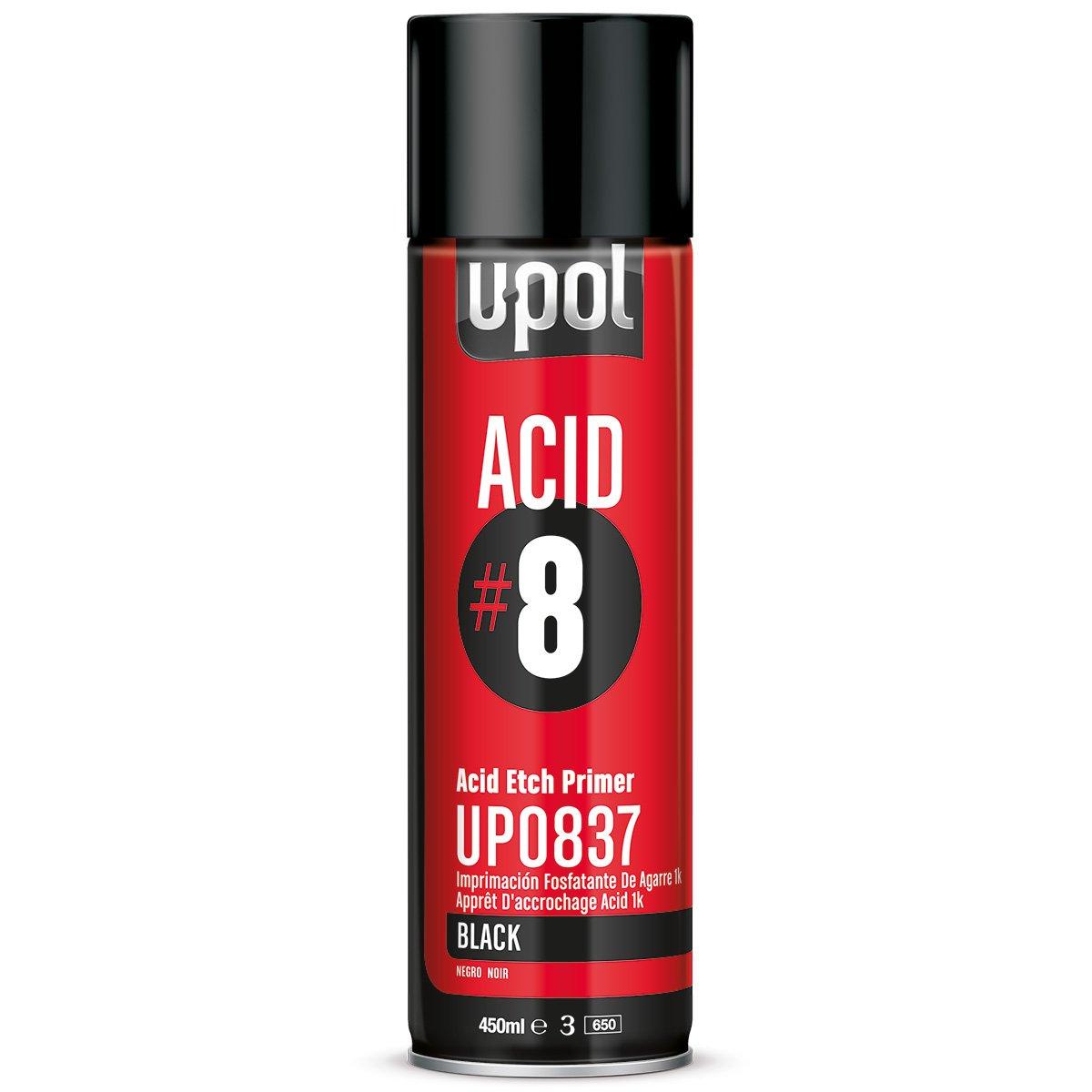 U-Pol 0837 Acid#8 Etch Primer Black 450ml Aerosol, 13.5 Fluid_Ounces