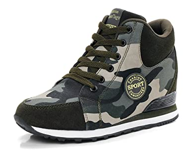 c5c58fbce9a9f No.66 TOWN Women's Camouflage High-Heel Sneakers Inner Heightening Leisure  Running Shoes Size