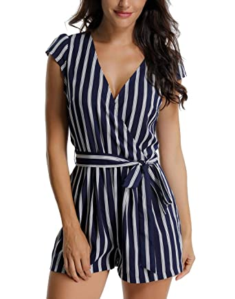 2654633173e Clearance Rompers for Women Vertical Striped V Neck Cap Sleeve Short  Jumpsuits with Belt Blue Striped