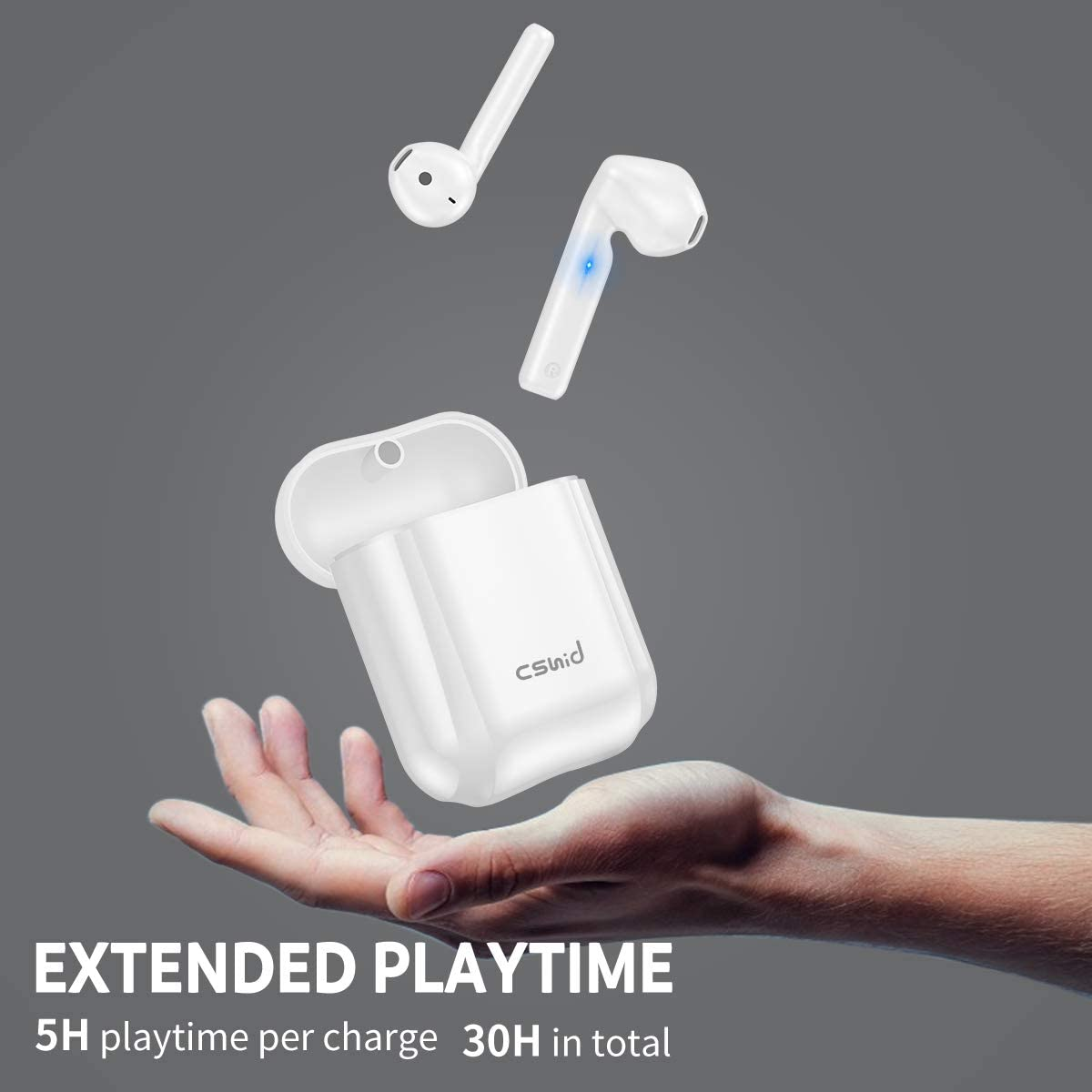 in-Ear Headset for iPhone Android Cshidworld Bluetooth 5.0 Earbuds Noise Cancelling Wireless Headphones 30H Cycle Playtime Hi-Fi APT-X CVC8.0 Sweatproof Earphones with mic Wireless Earbuds