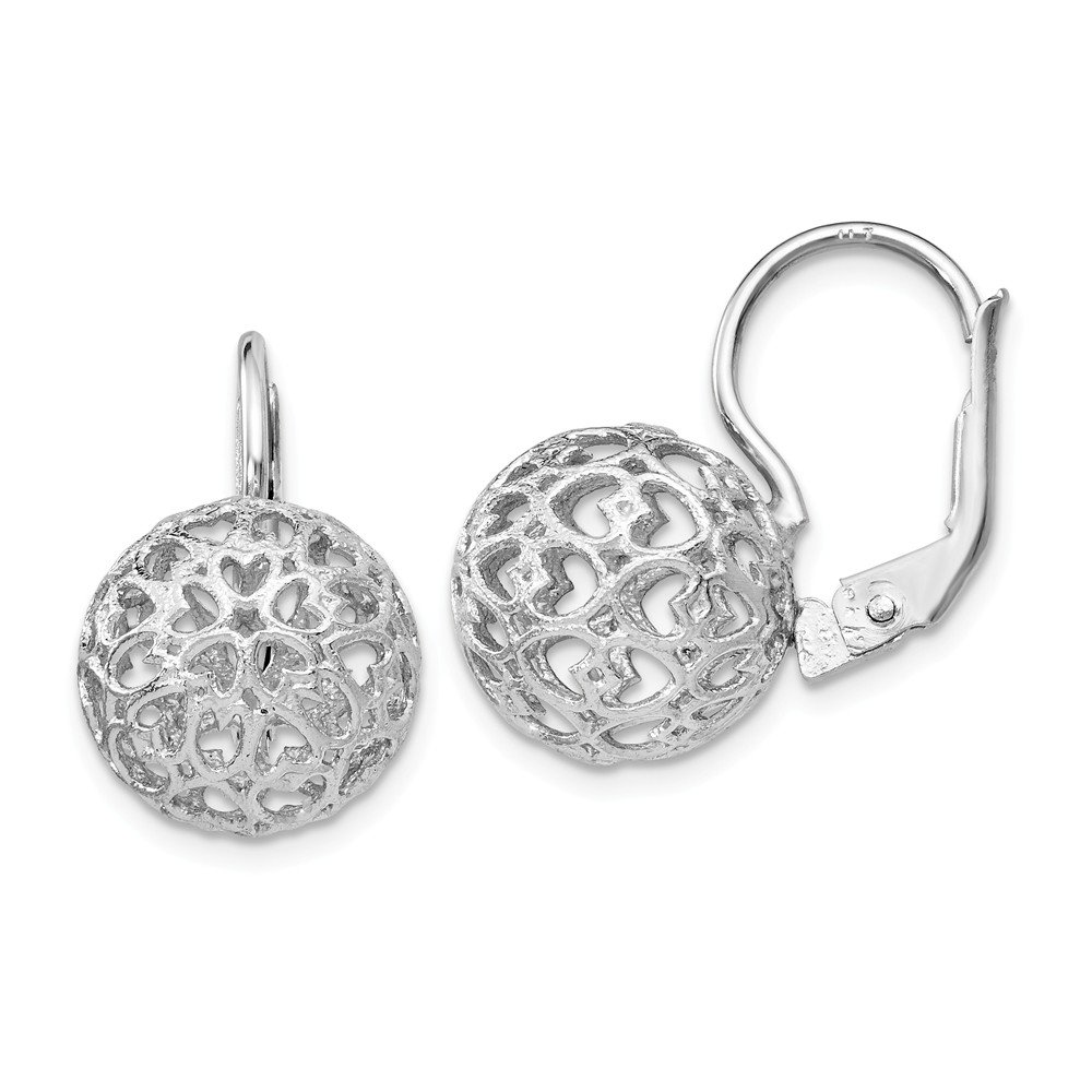 Solid Sterling Silver Heart Ball Leverback Earrings (12mm x 20mm) Sonia Jewels 3178716882