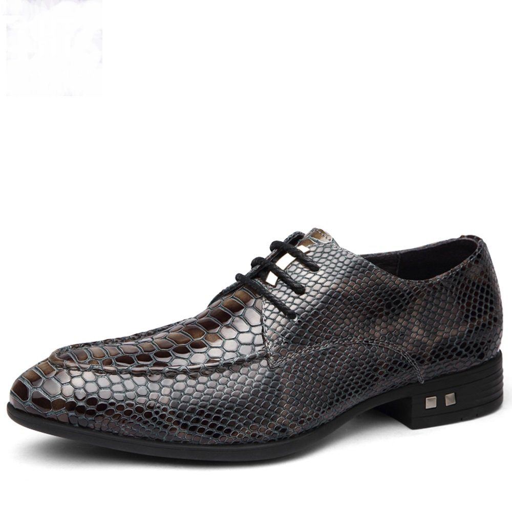 New shoes men's business casual shoes are loaded pointed British lace snake Oxford shoes ( Color : Gray , Size : 6.5 D(M)US )
