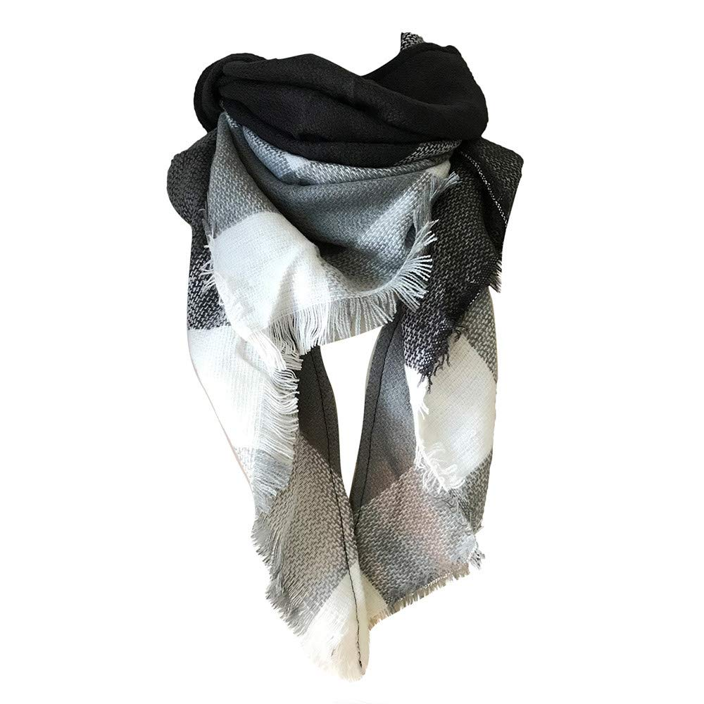FarJing Womens Fall Winter Scarf Classic Tassel Plaid Scarf Warm Soft Chunky Large Blanket Wrap Shawl Scarves(Gray)