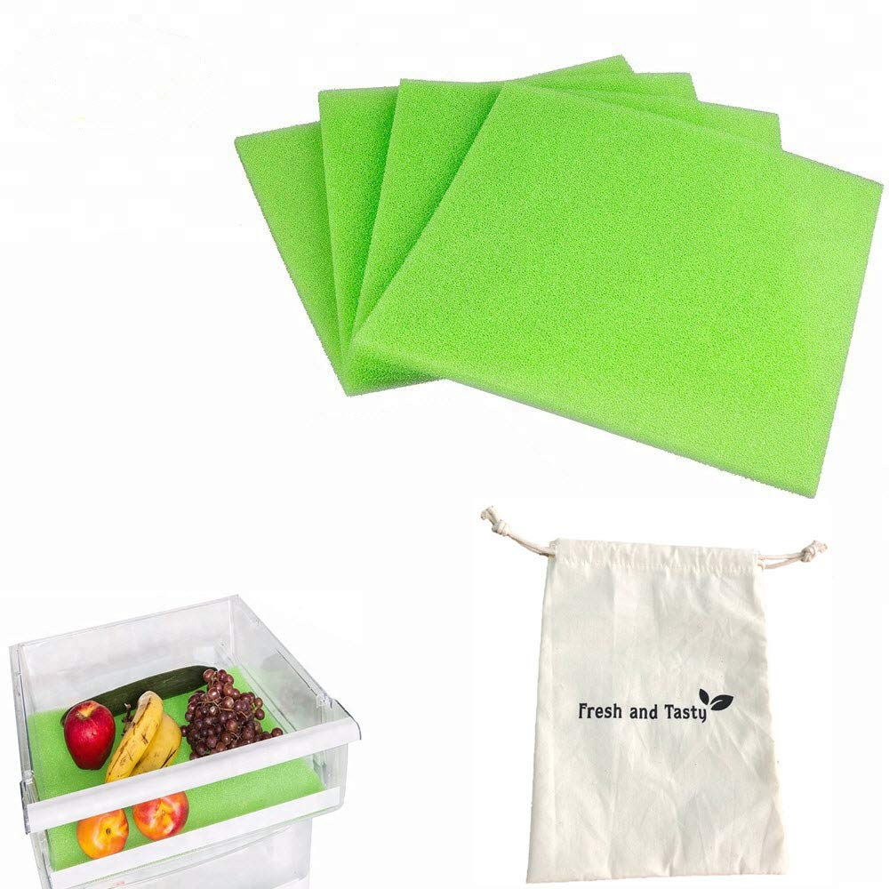 4 Pack Produce Saver | Refrigerator Shelves and Crisper Drawer Liner | Washable Life Extender Foam Mat, 15x12 inches, comes with a Food Bag Bonus – Torwood