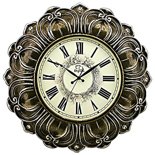 24-inch Super Large Living Room Wall Clock Silent Sweep Second Quartz Movement Battery Operated Wall Clocks with Decorative Border #66169 (Dark Brown - Bright Silver)