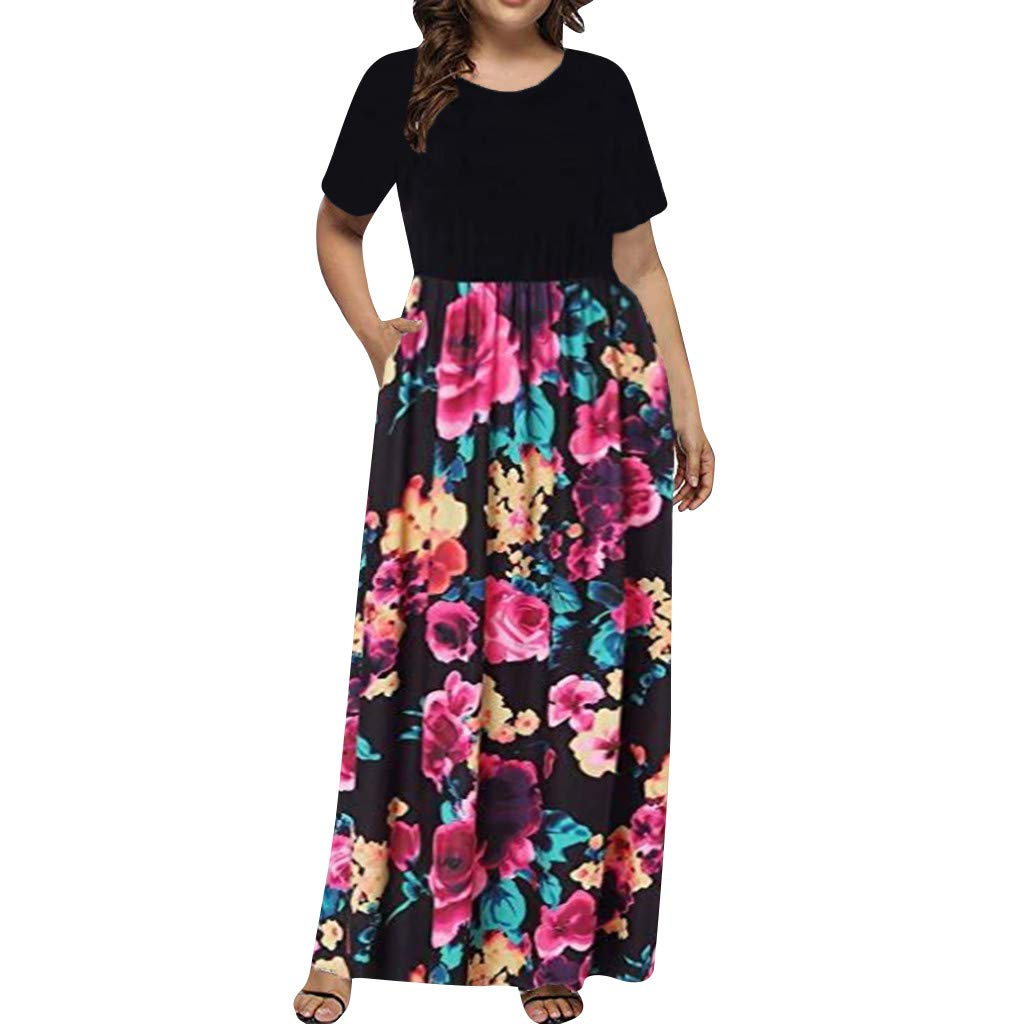✿HebeTop✿ Women Short Sleeve Loose Printed Maxi Dresses Casual Long Dresses Pockets Hot Pink