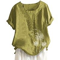 DressLksnf Camiseta Algodón y Lino para Mujer Nuevo de Cuello Redondo Blusa Casual Impresion Mangas Corta Botones Retro Camiseta Verano de Suelto Estilo de Deportiva Tops