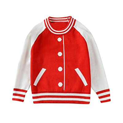 Birdfly Toddler Baby Baseball Jacket Design Sweater Jumper Kids Crewneck Tops Fall Winter Outfits