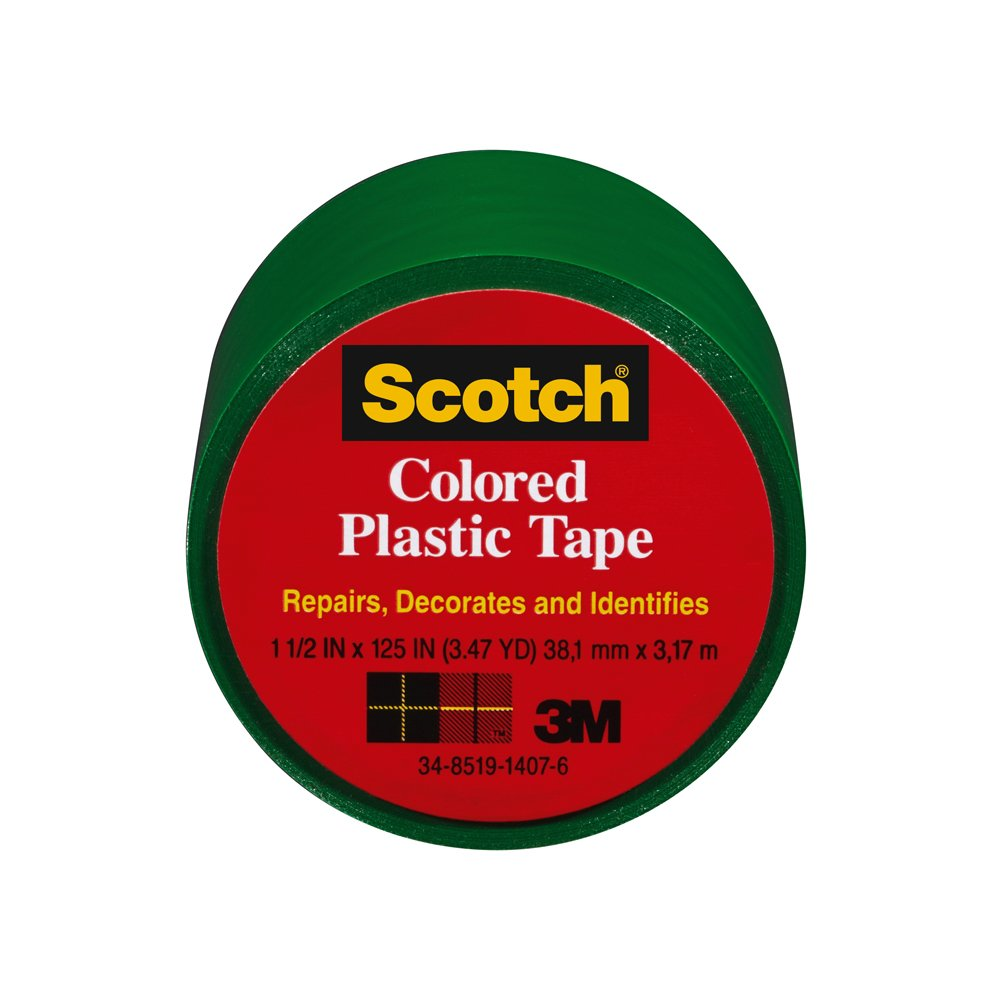 Scotch 191GN-6 Colored Plastic Tape, 1.5 x 125-Inch, Green