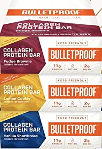 Collagen Protein Bars Variety Pack, 12 Count 3-Pack, Vanilla Shortbread, Lemon Cookie, Fudge Brownie, 11g Protein, Bulletproof Grass Fed Healthy Snacks, Made with MCT Oil, 2g Sugar, No Added Sugar