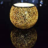 TELOSMA Decorative Gold Mosaic Glass Tealight Candle Holder for Dinner Table Decoration