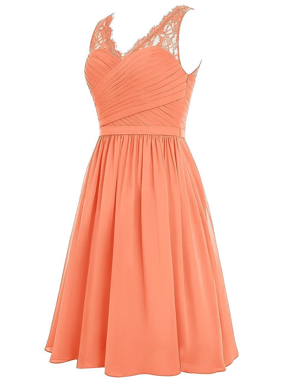 Dresstells reg; V Neck Chiffon Prom Dress with Lace Bridesmaid Dress Evening Party Dress: Amazon.co.uk: Clothing