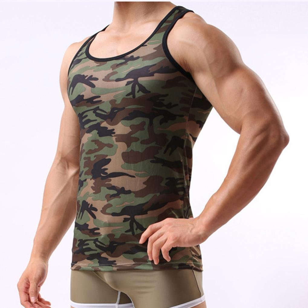 M, ✿ Camouflage ✿✿ Men Vest Xinantime Casual Military Camouflage Sleeveless Tank Top Summer Sportswear T-shirt Blouse