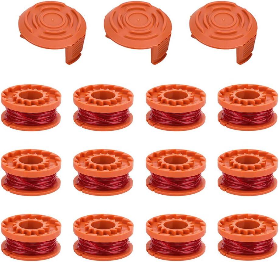 SKD RV Tech Line String Trimmer Replacement Spool for Worx Trimmer WA0010 WG163 WG154 WG160 WG155 WG151.5 WG151 (12 String Trimmer Line+3 Spool Cap): Garden & Outdoor