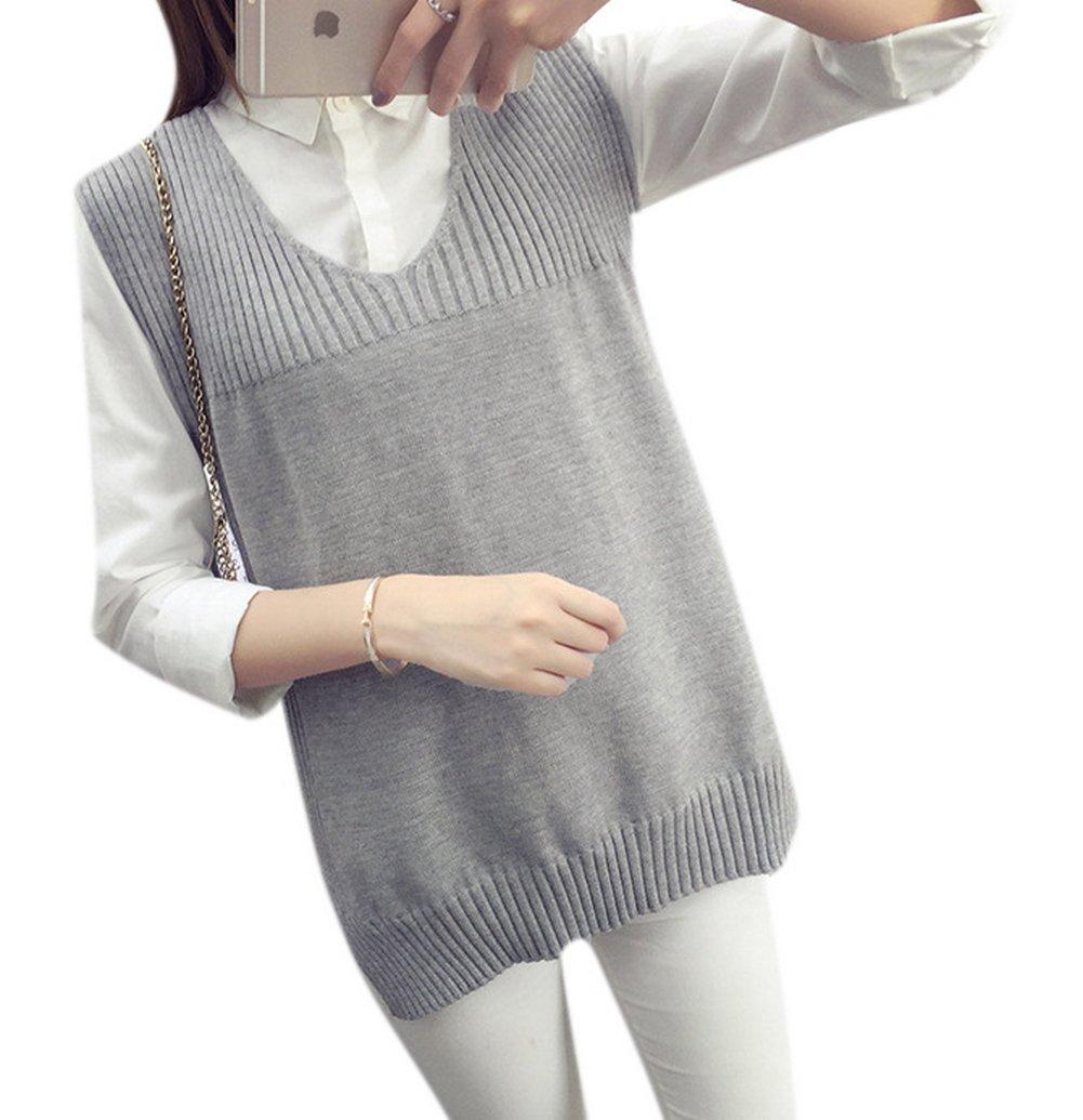 Lingswallow Women Preppy Style Durable V Neck Knit Side Split Sweater Vest Grey