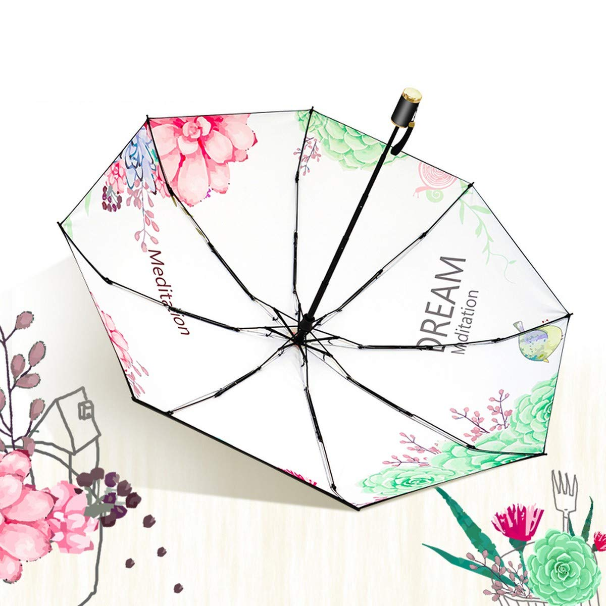 YSKGZ Paraguas Paraguas De Tres Pliegues Y Lluvia.Paraguas Protector Solar Uso.Regalo De Doble Uso.Regalo Solar Femenino,Verde. f8e3a2