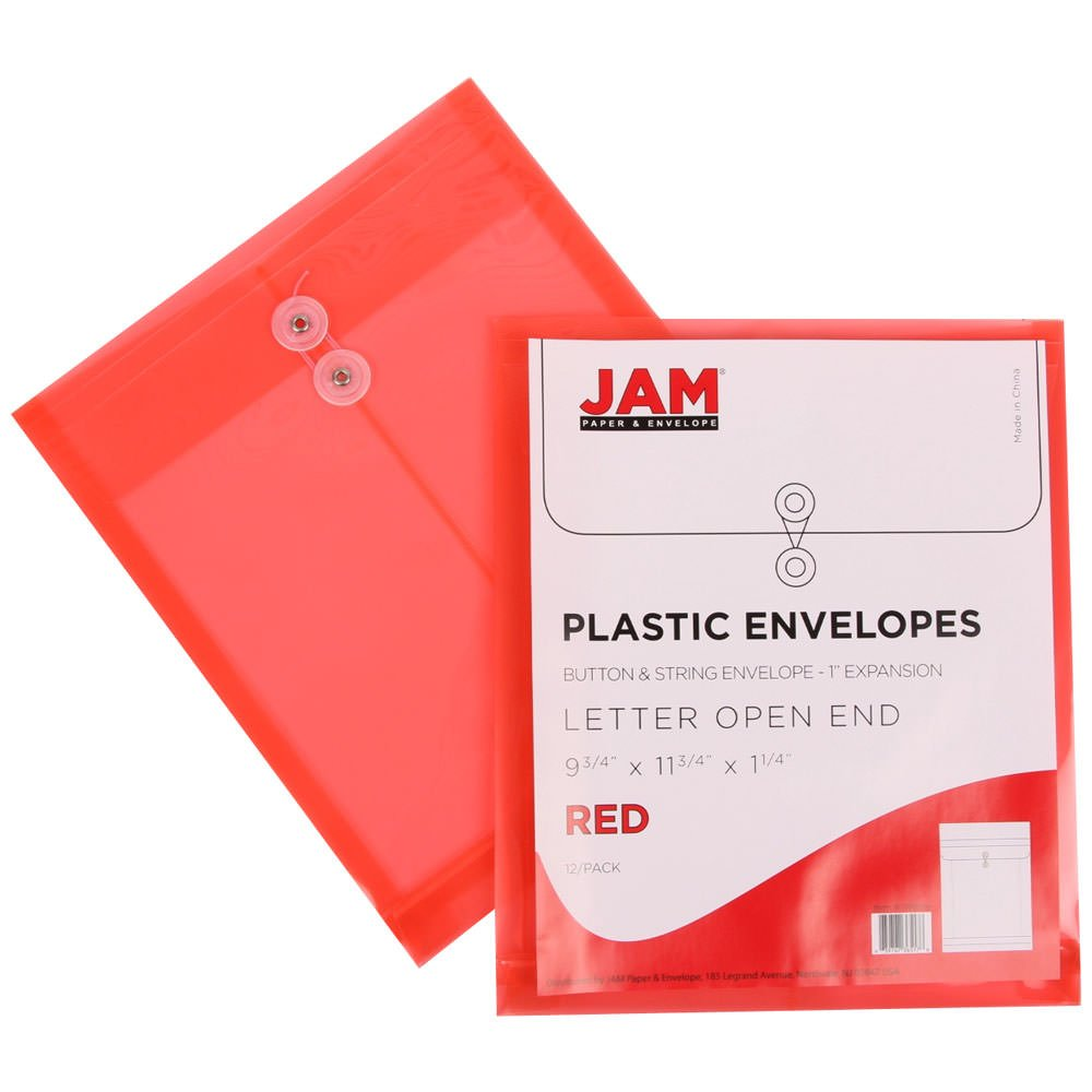 JAM PAPER Plastic Envelopes with Button & String Tie Closure - Letter Open End - 9 3/4 x 11 3/4 - Assorted Colors - 6/Pack by JAM Paper (Image #5)