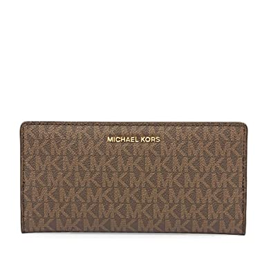 022b8d96316e Michael Kors Jet Set Logo Slim Wallet- Brown Acorn  Handbags  Amazon.com