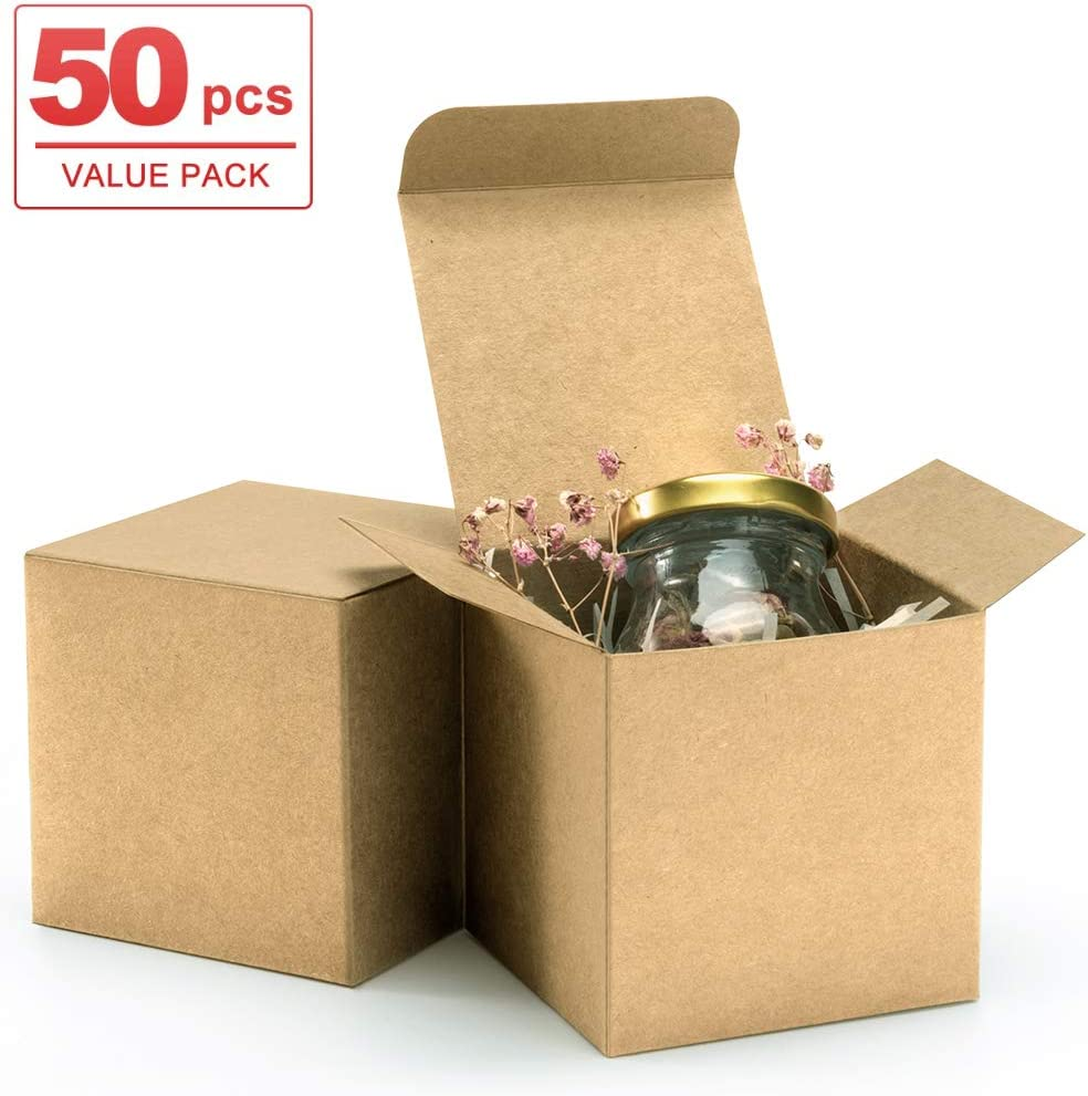 Crafting Cupcake Boxes ValBox 3x3x3 Brown Gift Boxes 50pcs Recycled Paper Cube Boxes with Lids for Gifts Easy Assemble Boxes for Party Favor