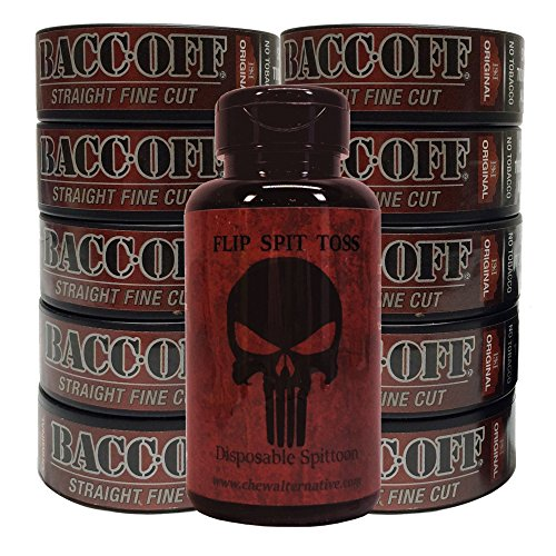 Baccoff   Tobacco Free   Non Tobacco Herbal Chew Or Snuff   10 Cans   Includes Mud Bud Disposable Spittoon  Straight Fine   Punisher Mb