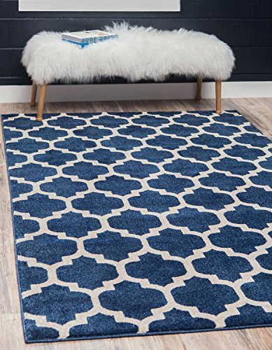 "Unique Loom Modern Geometric Trellis Contemporary Area Rug - Made in Turkey, this Unique Loom Trellis Collection rug is made of Polypropylene. This rug is easy-to-clean, stain resistant, and does not shed. Colors found in this rug include: Dark Blue, Navy Blue, Ivory. The primary color is Dark Blue. This rug is 1/2"" thick. - living-room-soft-furnishings, living-room, area-rugs - 618fGx1PfUL -"