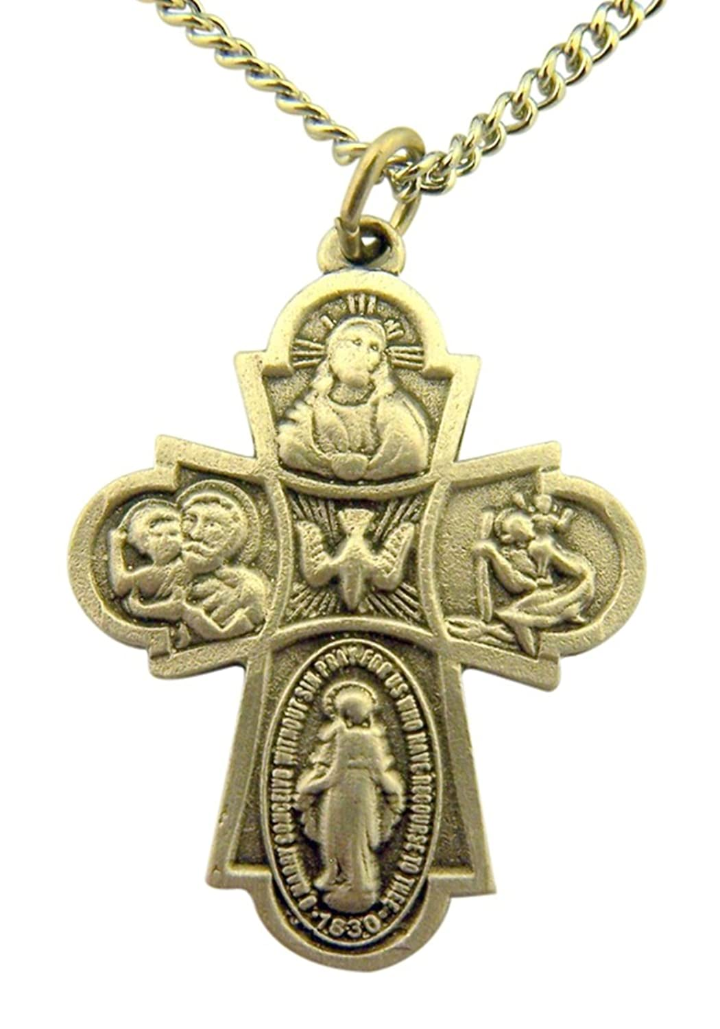 Pewter Four Way Cross Medal with I Am Catholic Back, 1 1/4 Inch