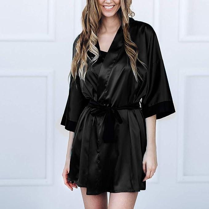 Camisones Mujer Sexy Batas y Kimono con Cinturón Pijama Satén Mujer Encaje Elegante Ropa de Dormir - URIBAKY®: Amazon.es: Ropa y accesorios