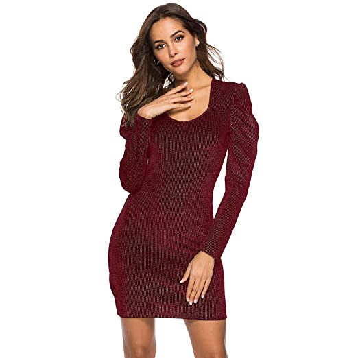 03b8b8a5d7 Women Mini Party Dress - Limsea 2019 Sexy Square Collar Long Sleeve Shining  Solid Color(