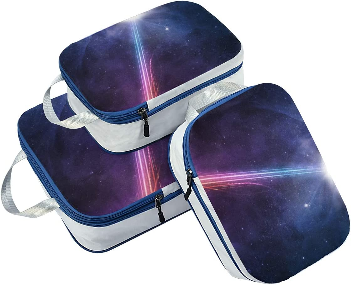 Space Galaxy 3 Set Packing Cubes,2 Various Sizes Travel Luggage Packing Organizers e