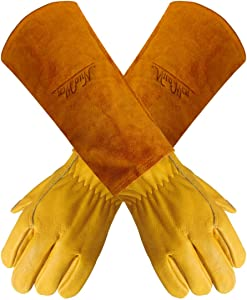Gardens Leather Gardening Gloves for Women and Men | Thorn and Cut Proof Garden Work Gloves with Long Heavy Duty Gauntlet | Suitable For Thorny Bushes Cacti Rose Pruning Landscaping Work (Large)