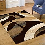 Allstar 8 X 11 Chocolate Modern Carved Circle Shape Area Rug (7′ 9″ X 10′ 5″) Review
