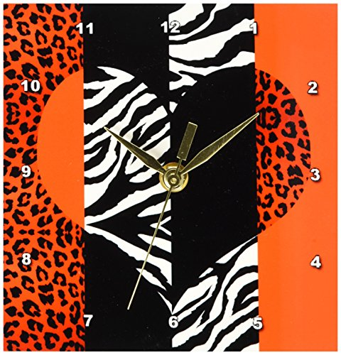 3dRose dc_35439_1 Red, Black, Orange and White Animal Print-Leopard and Zebra Heart-Desk Clock, 6 by 6-Inch by 3dRose