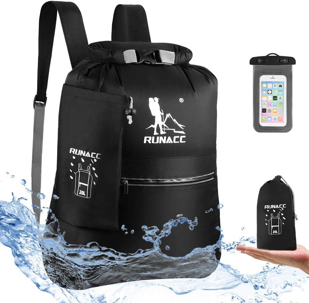RUNACC Mochila Impermeable 20 L Flotante, con Funda Impermeable para teléfono móvil, para Playa, Kayak, Camping, navegación, natación, Pesca, Senderismo