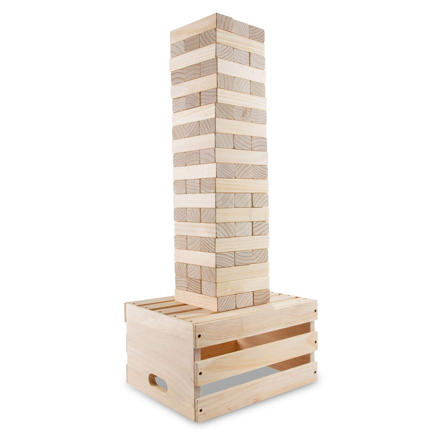 Sunny & Fun Giant Toppling Tower - 60 Jumbo Wooden Blocks Stacks to 5+ Feet - Oversized Indoor & Outdoor Stacking Game for Adults & Kids w/ 2-in-1 Storage & Table Crate - for Party Yard Lawn Backyard