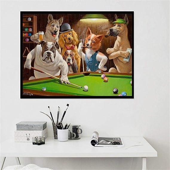 MXmama Dibujos Animados creativos Impresión de Animales Pintura en Lienzo Perro Jugando al Billar Póster Sala de Estar Arte de la Pared Imágenes Decoración del hogar Mural-50x70cm sin Marco: Amazon.es: Hogar