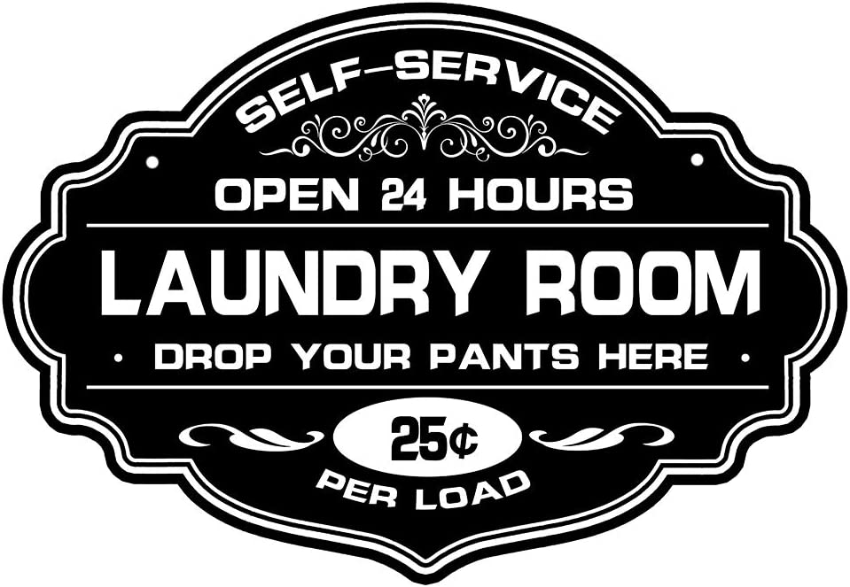 Calien Laundry Room Wall Decor Sign Large Self Service Drop Your Pants Here Laundry Signs Wash Room Wall Plaque Art 13 x 9 Inch