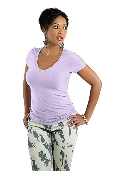e28e81fe34475 Poetic Justice Curvy Women s Basic Stretch Jersey V-Neck T-Shirt Size Small  Pink